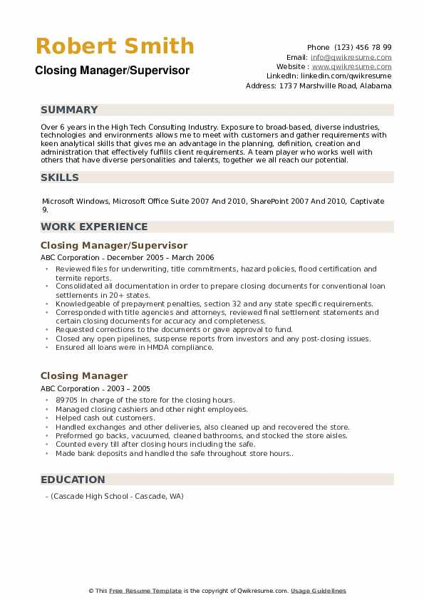 Closing Manager/Supervisor Resume Template