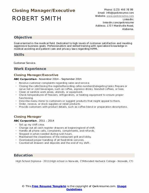 Closing Manager/Executive Resume Format
