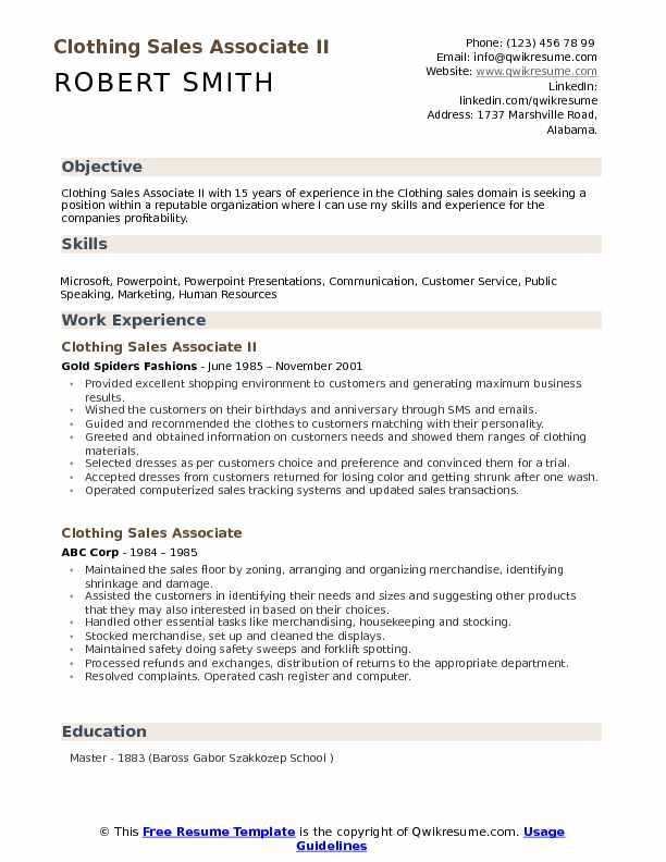 Clothing Sales Associate II Resume Sample