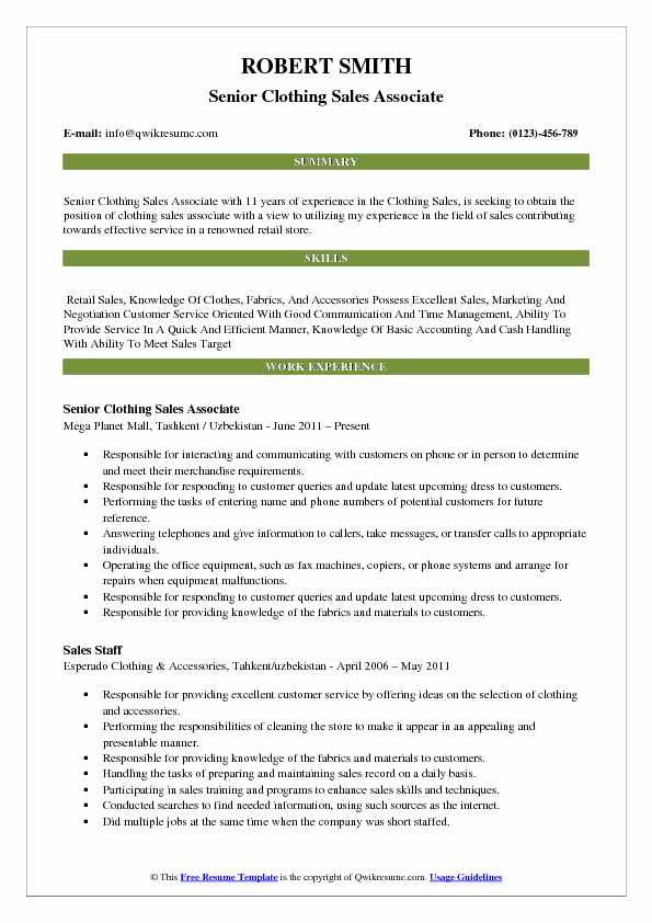 Senior Clothing Sales Associate Resume Template