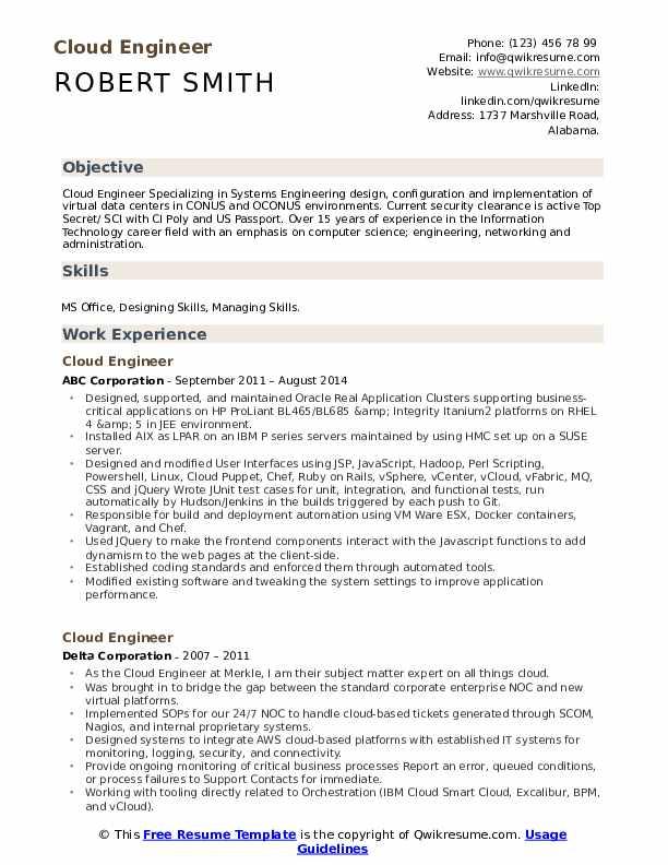cloud engineer resume samples  qwikresume