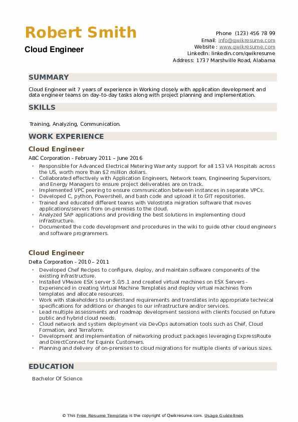 Cloud Engineer Resume example