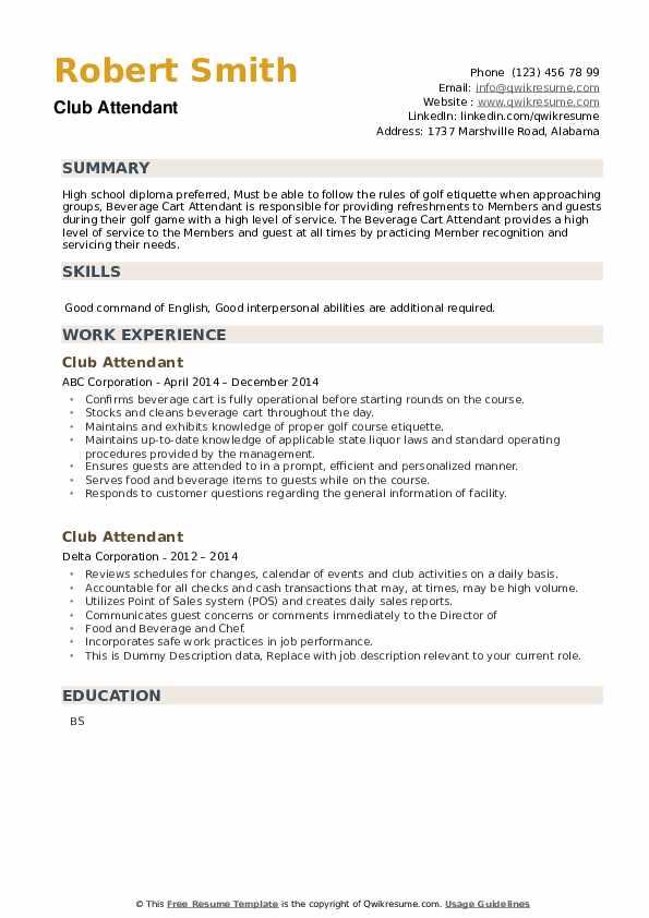 Club Attendant Resume example