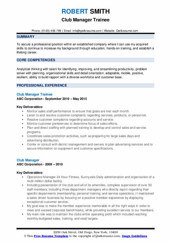 Club Manager Trainee Resume Sample