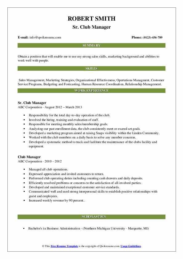Sr. Club Manager Resume Template