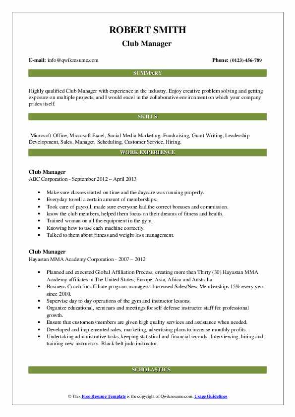 Club Manager Resume example