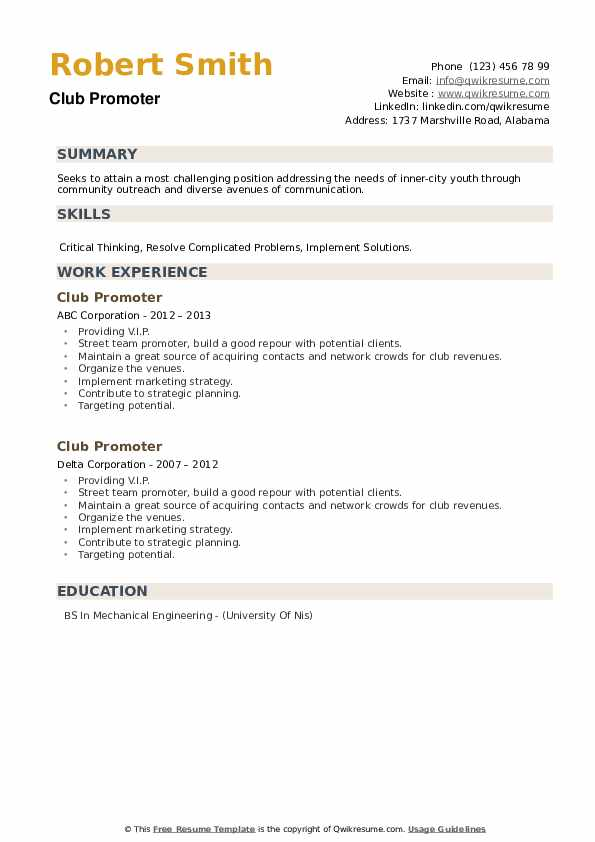 Club Promoter Resume example