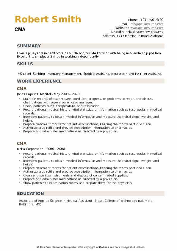 CMA Resume example