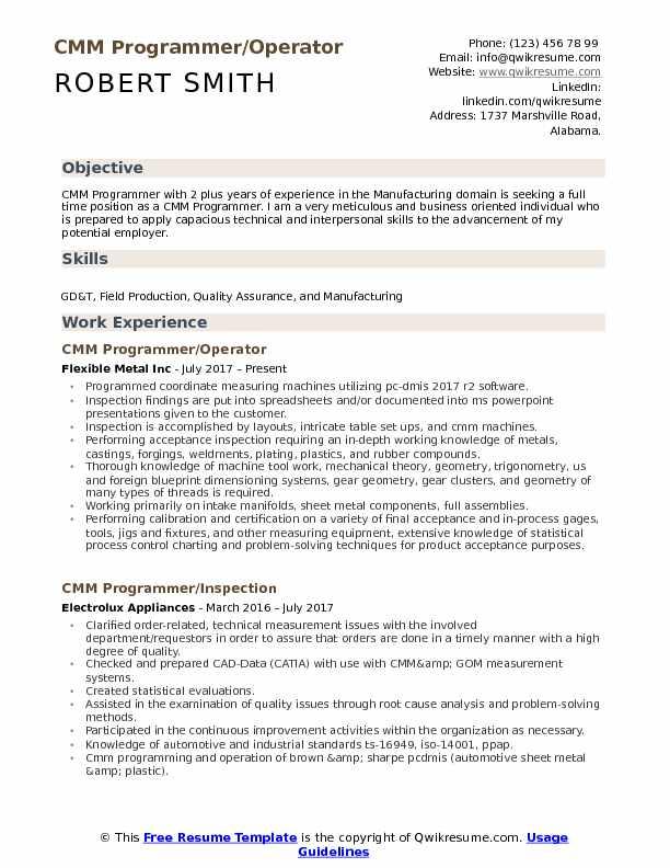 CMM Programmer/Operator Resume Template
