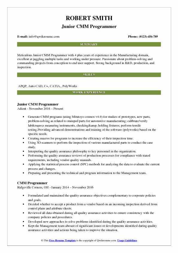 Junior CMM Programmer Resume Sample