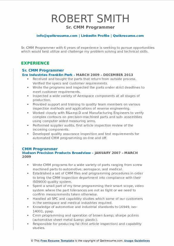 cmm programmer resume samples