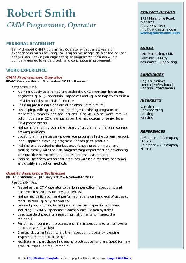 CMM Programmer, Operator Resume Format