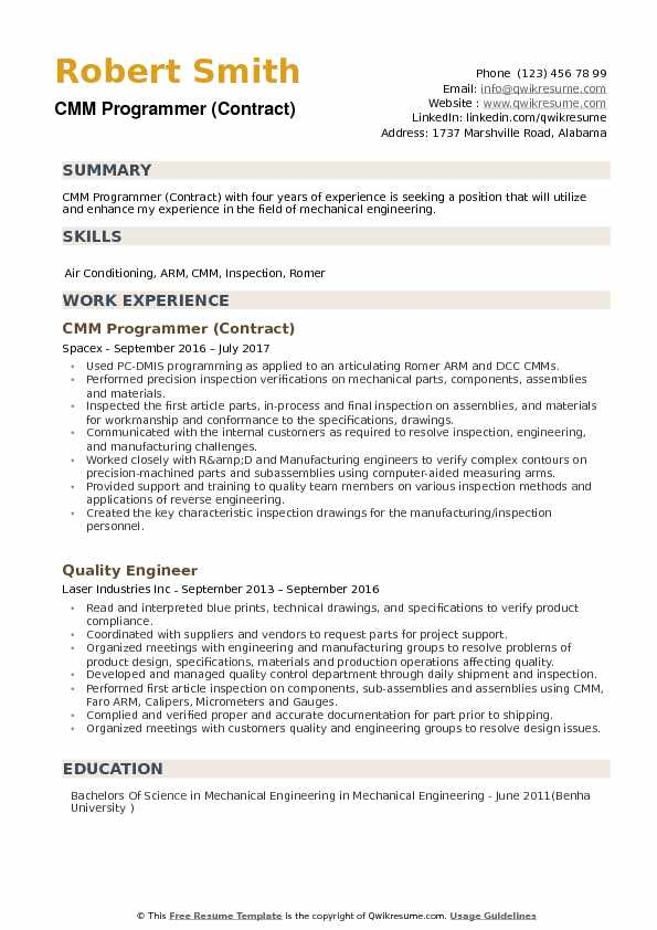 CMM Programmer (Contract) Resume Template