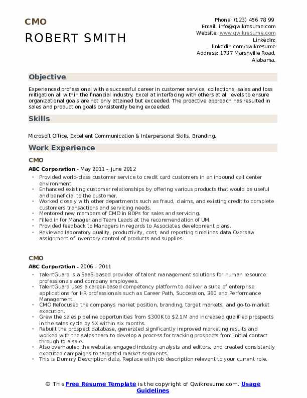 CMO Resume example