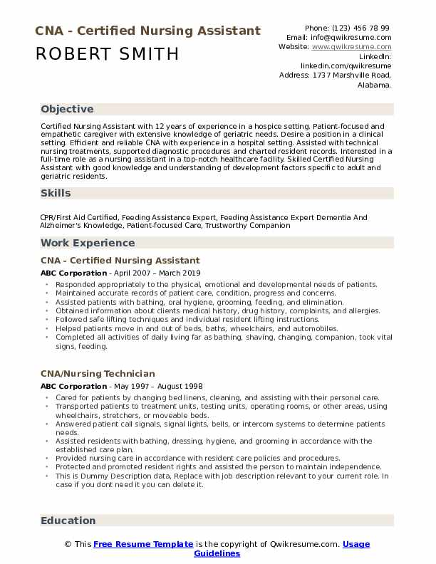 CNA - Certified Nursing Assistant Resume Template