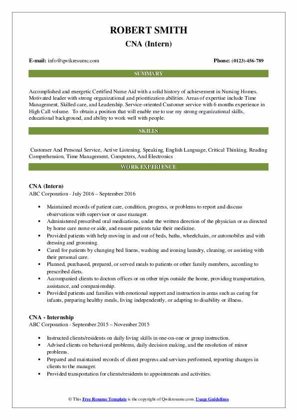 CNA (Intern) Resume Example