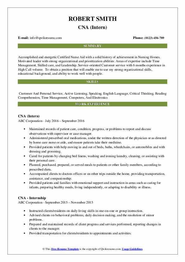 cna resume samples  qwikresume