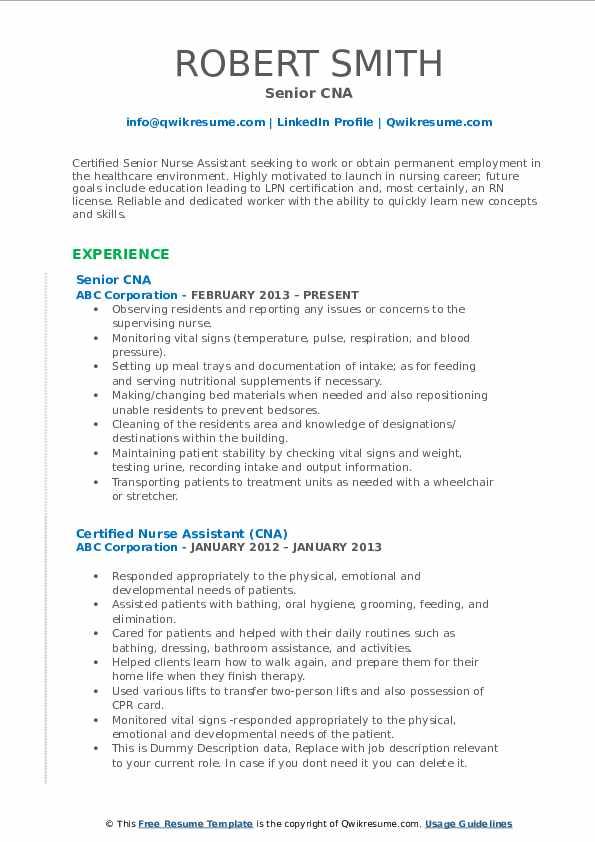 CNA Resume Samples