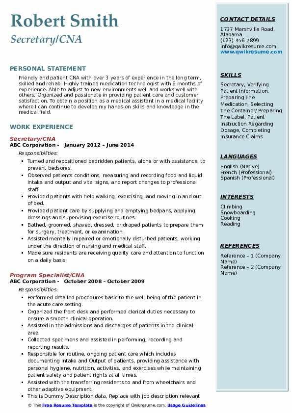 Secretary/CNA Resume Model