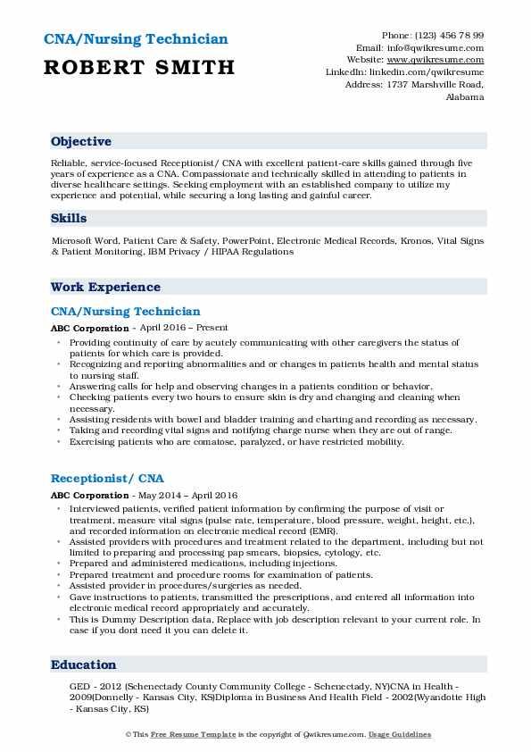 CNA/Nursing Technician Resume Template