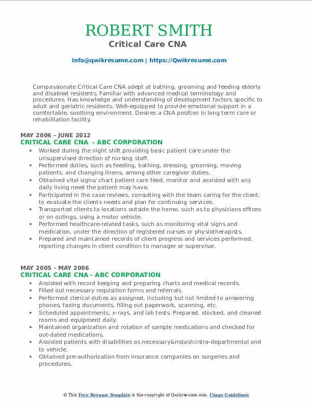 Critical Care CNA  Resume Model