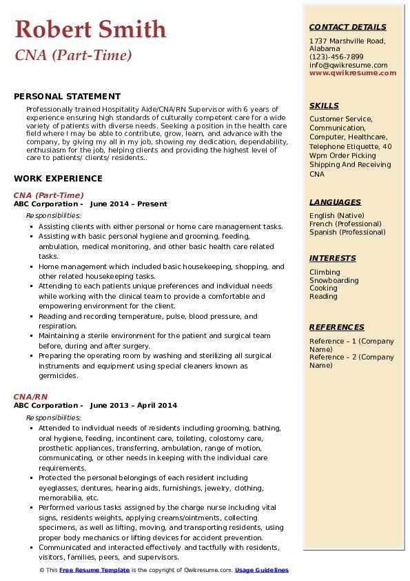 CNA (Part-Time) Resume Model