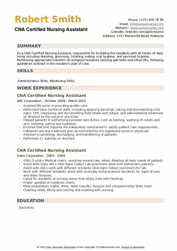 CNA Certified Nursing Assistant Resume example