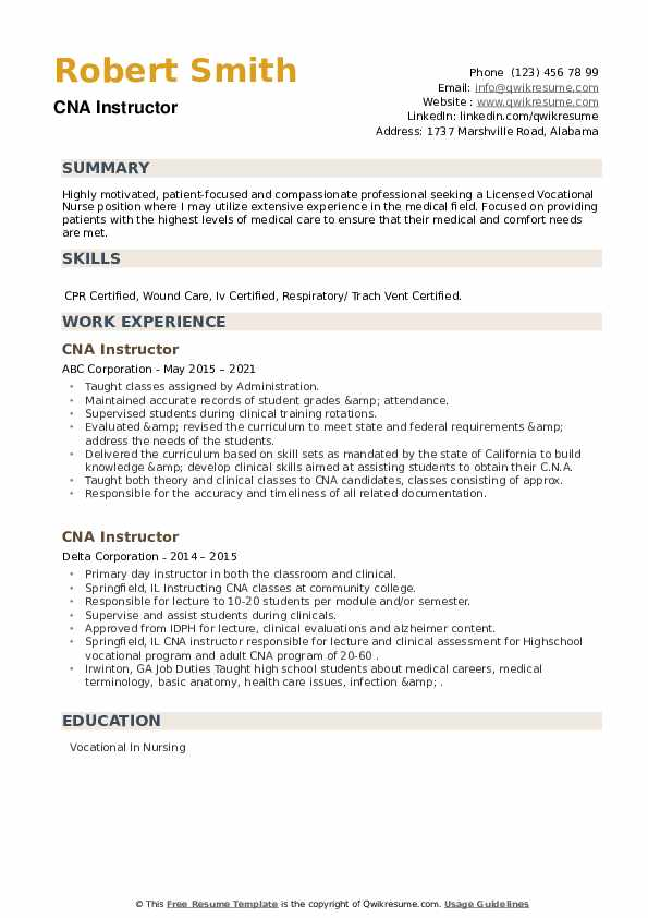 CNA Instructor Resume example