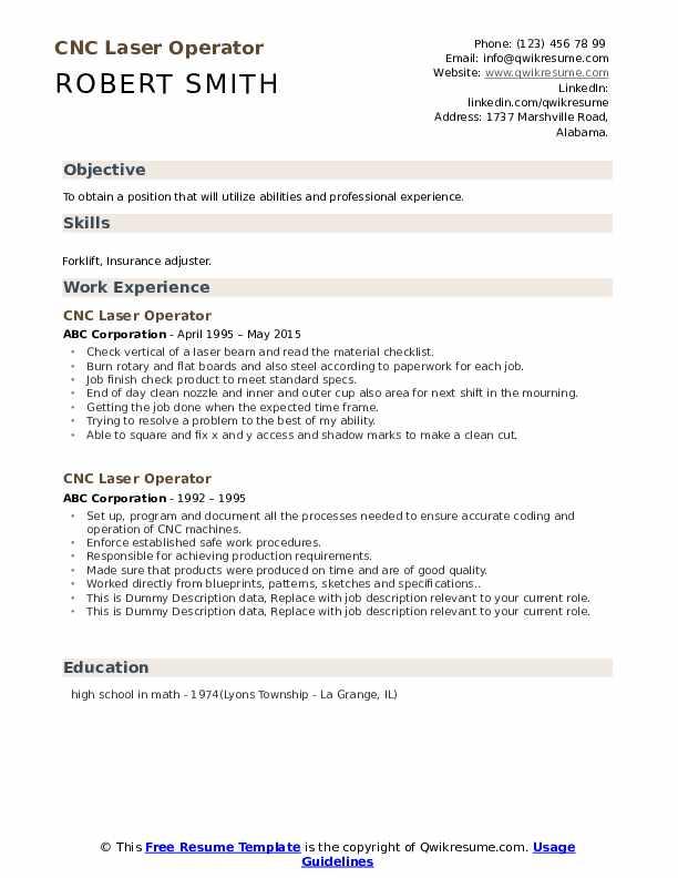 CNC Laser Operator Resume example