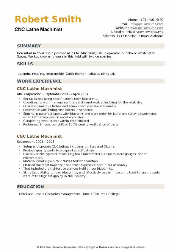 CNC Lathe Machinist Resume example
