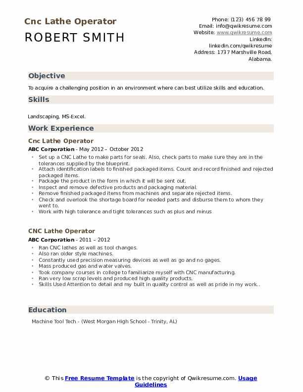 CNC Lathe Operator Resume example