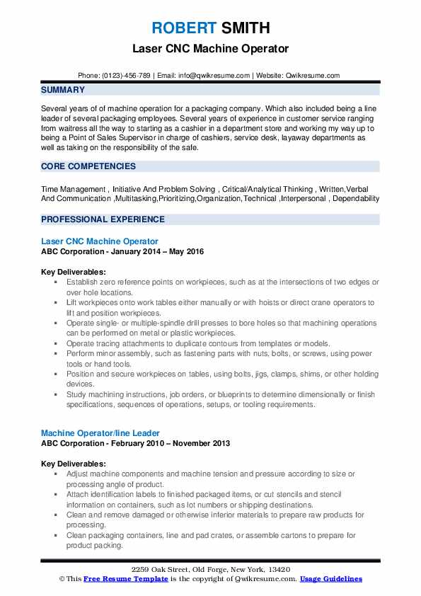 Laser CNC Machine Operator Resume Template