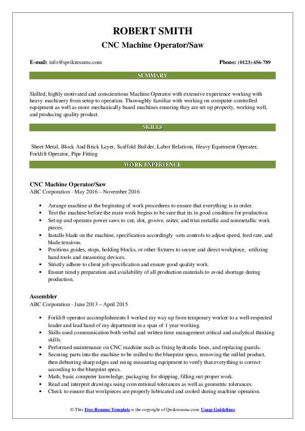 CNC Machine Operator/Saw Resume Example