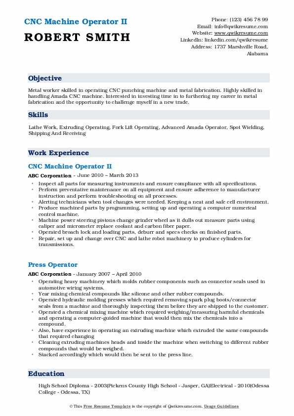 CNC Machine Operator II Resume Model