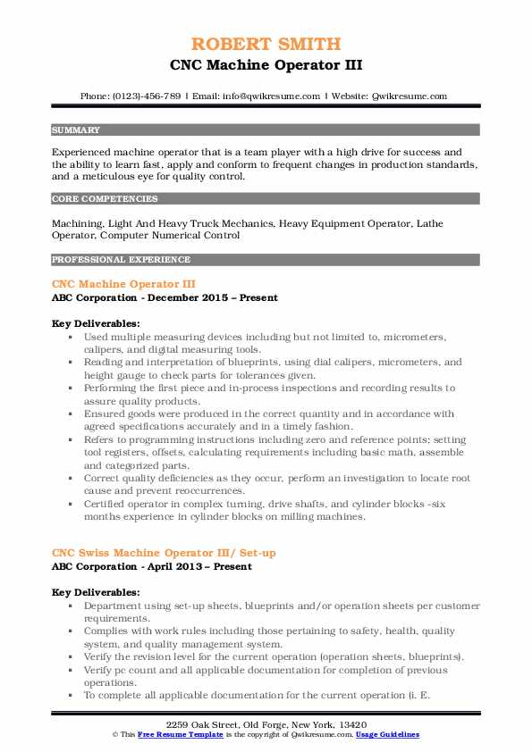 CNC Machine Operator III Resume Model