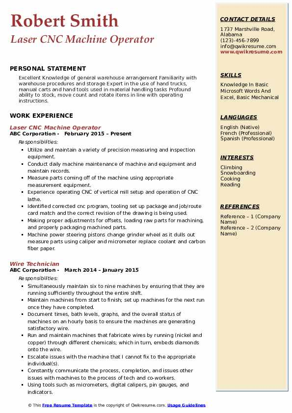 Laser CNC Machine Operator Resume Example