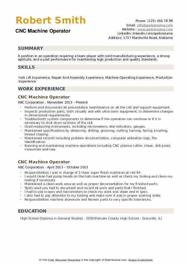 Cnc Machine Operator Resume Samples Qwikresume