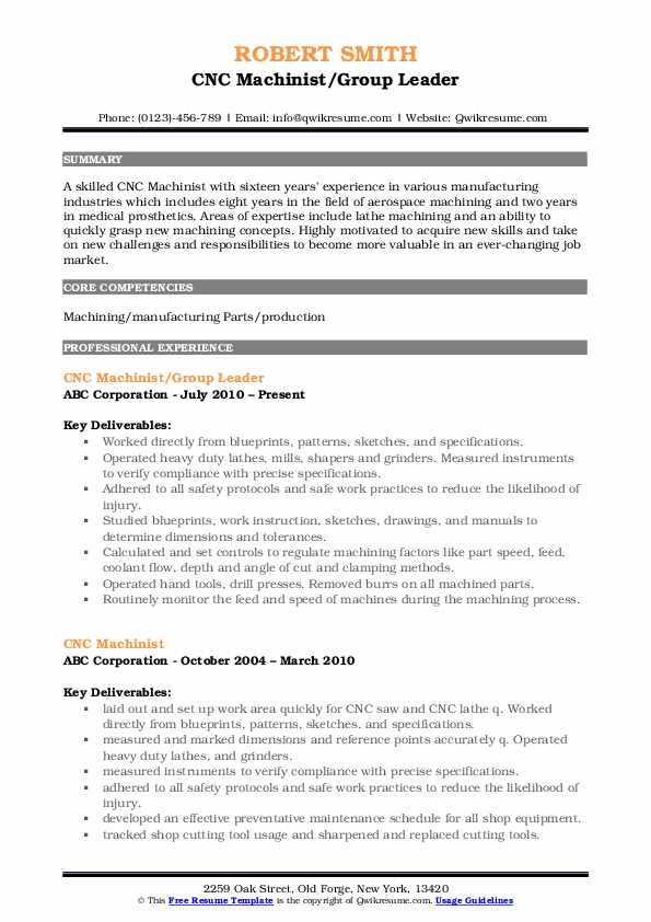 CNC Machinist/Group Leader Resume Format