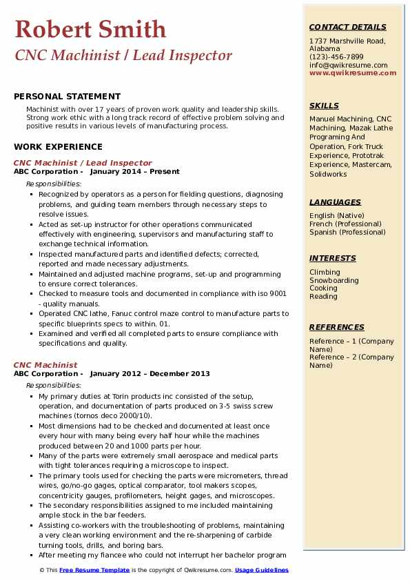 CNC Machinist / Lead Inspector Resume Example