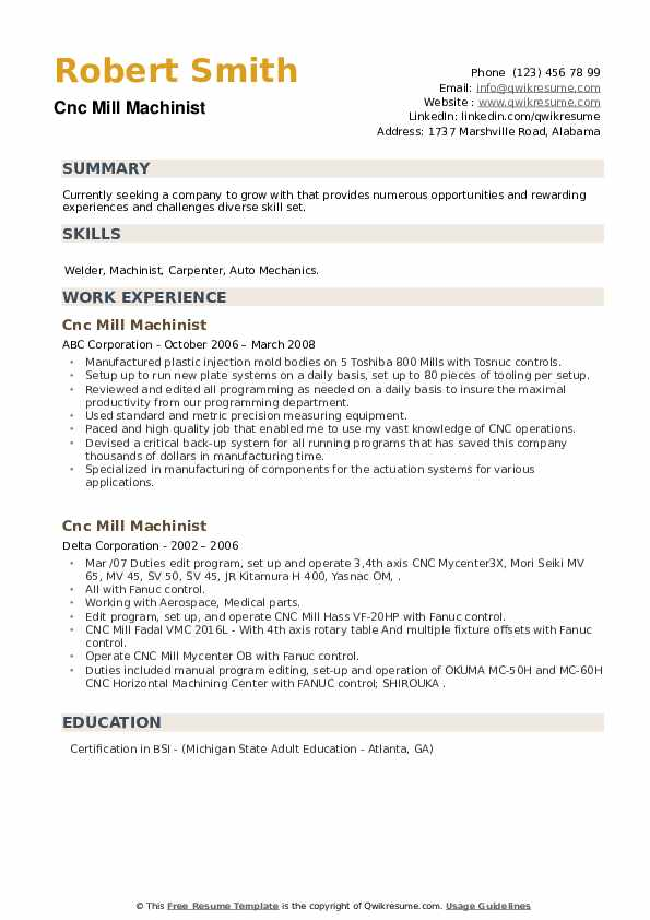 cnc mill machinist resume samples  qwikresume