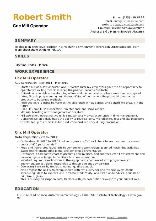 CNC Mill Operator Resume example