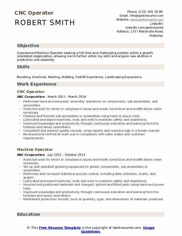 cnc operator resume samples