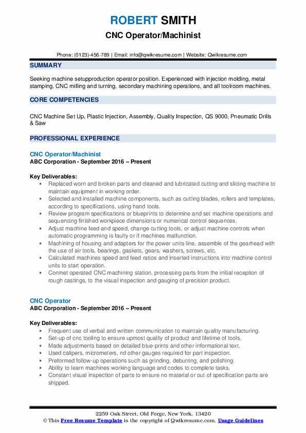 CNC Operator/Machinist Resume Template