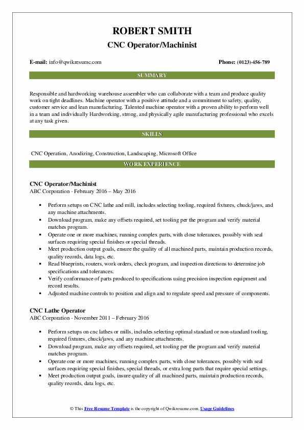 CNC Operator/Machinist Resume Sample