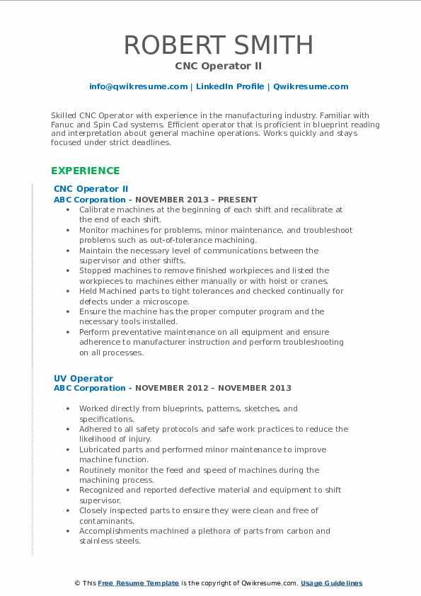 CNC Operator II Resume Model