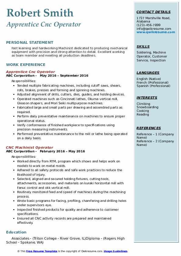 Apprentice Cnc Operator Resume Example