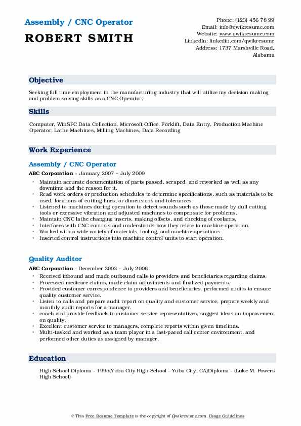 CNC Operator Resume Samples | QwikResume