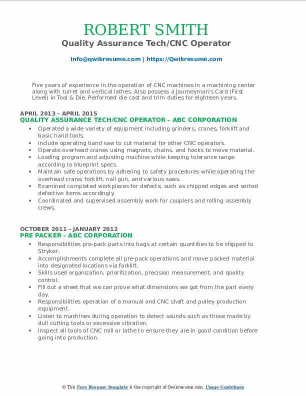 Quality Assurance Tech/CNC Operator Resume Format
