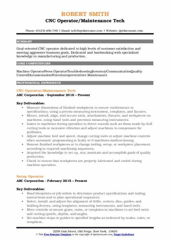 CNC Operator/Maintenance Tech Resume Format