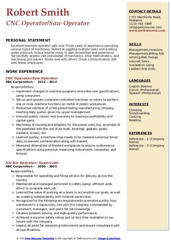 CNC Operator/Saw Operator Resume Example